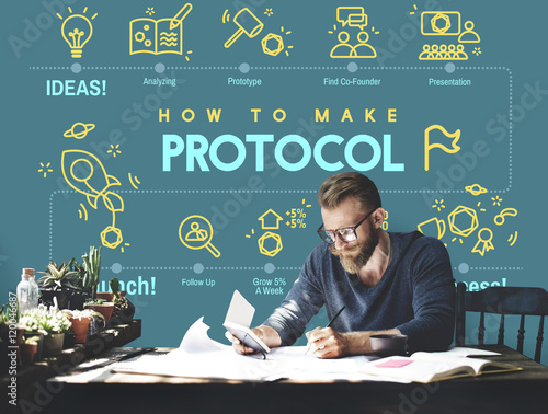 Fotografía  Protocol Networking Data Proper Protection Safety Concept