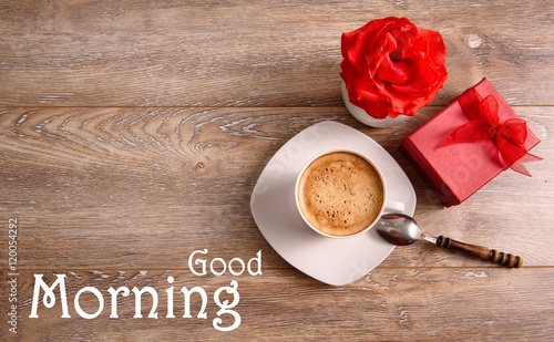Good Morning Wallpaper With Cup Of Coffee Red Rose And Gift On Wooden Background