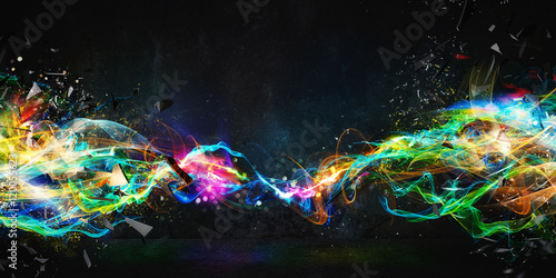 Staande foto Abstract wave Modern abstract motion banner on dark background
