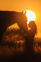 Girl And Horse Silhouette At S...