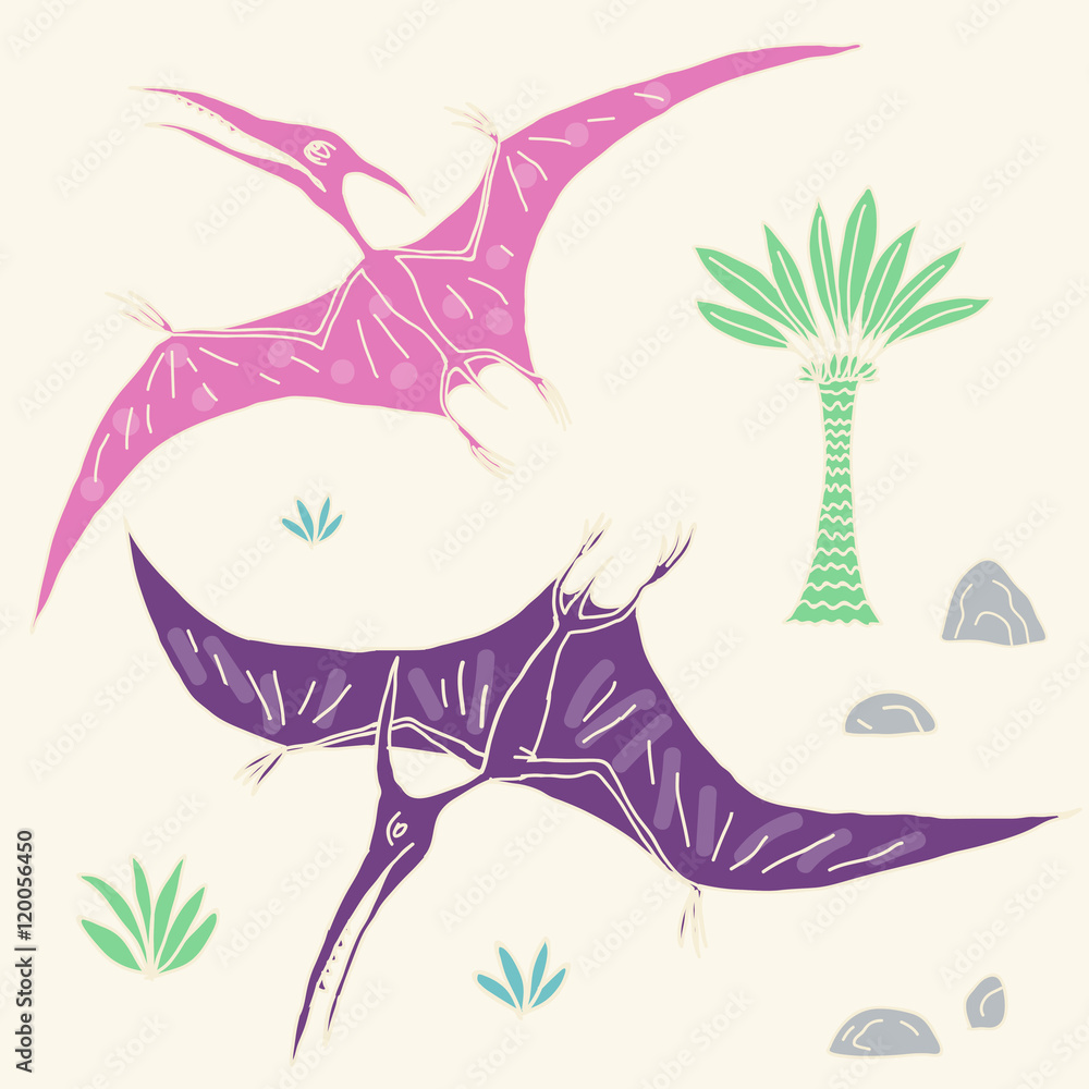 Image of: Baby Dinosaur Poster Foto Vector Hand Drawn Illustration With Cute Cartoon Doodle Dinosaur Koop Op Europostersnl Europosters Poster Foto Vector Hand Drawn Illustration With Cute Cartoon Doodle