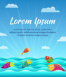 Vector summer background with sky, sea and fish. Cartoon illustration