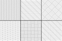 Black And White Simple Wooden Parquet Floor Set - Herringbone, Stripes, Squares Seamless Patterns, Vector