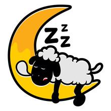 Cute Sleepy Sheep At Moon Illu...