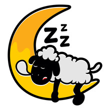 Cute Sleepy Sheep At Moon Illustration