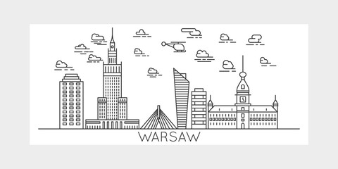 Panel Szklany Warszawa Warsaw, Poland, city vector illustration