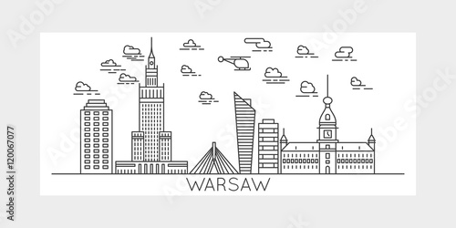 Warsaw, Poland, city vector illustration