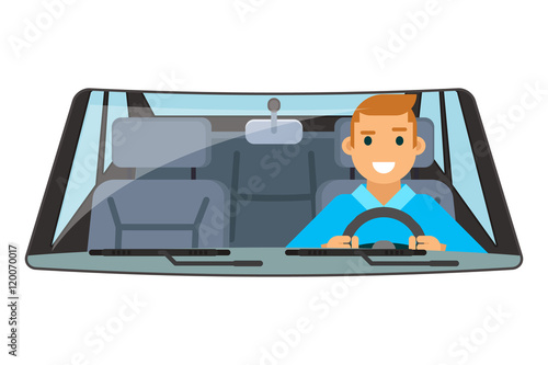 Vehicle interior driver car wheel ride driving isolated flat design vector illustration