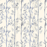 Fototapeta Bambus - Hand-drawn watercolor seamless pattern with bamboo plant drawing. Repeated background with bamboo