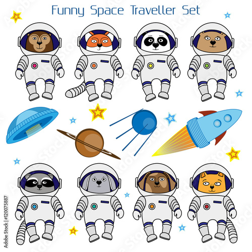 Photo  Set of cute animal astronauts, rocket, satellite, UFO and stars