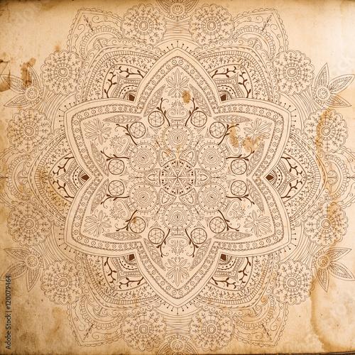 Plakat Cyfrowy papier do drewna Skrapbook i mandali tekstura tło