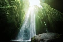 Gljufrabui Waterfalls Inside A Cave, Iceland