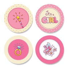 Set Of Colorful Stickers For Girl's Birthday
