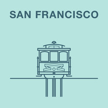 San Francisco Cable Car Illustration Made In Line Art Style.