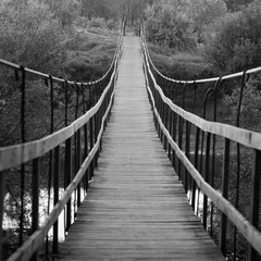 Panel Szklany Podświetlane Mosty Suspended wooden bridge in black and white