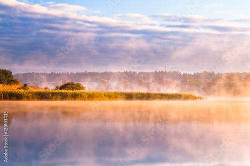 misty morning on Mazury lake  - 120103433