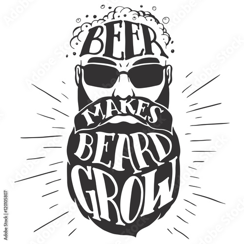 Beer makes beard grow Poster Mural XXL