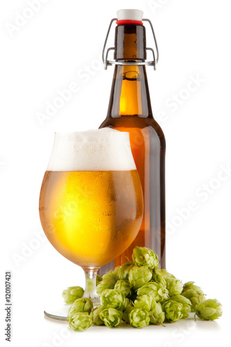 Beer glass on white background Canvas Print