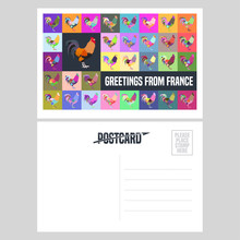 France Vector Postcard Design With French Symbol Rooster