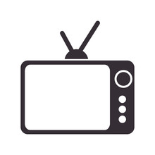 Retro Television With Antenna And Buttons. Entretainment Device. Silhouette Vector Illustration