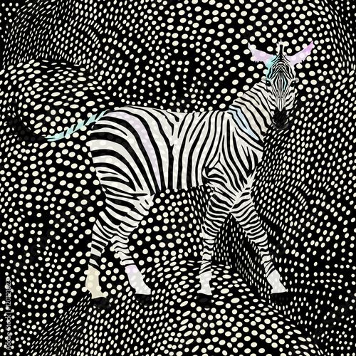 Cotton fabric Abstract draw  zebra in the savannah, fashion striped  polka dot print