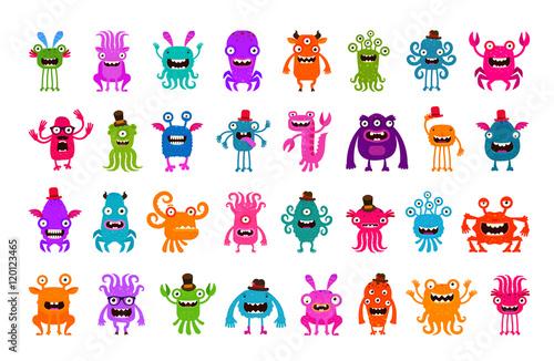 Spoed Foto op Canvas Schepselen Vector set of cartoon cute monsters