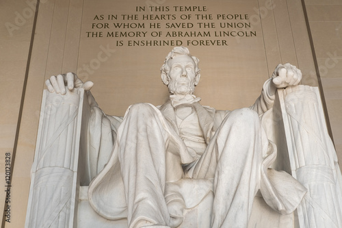 Statue of Abraham Lincoln at the Lincoln Memorial in Washington Poster