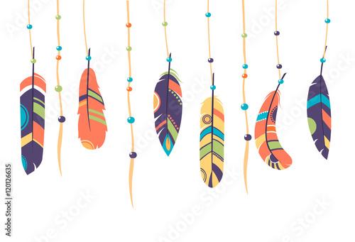 Foto op Aluminium Vissen Feathers. Vector Set of Ethnic feathers, Tribal. bright background, illustration , dark and light feathers, boho design