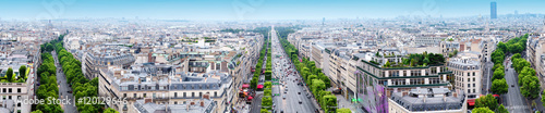 Papiers peints Paris Paris aerial view from Triumphal Arch on Champs Elysees. Panorama.