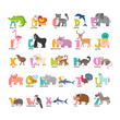 Cute cartoon animals alphabet from A to Z