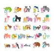Cute cartoon animals alphabet from A to Z