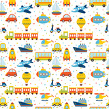 Seamless pattern with colorful cartoon transport. Cute backgroun