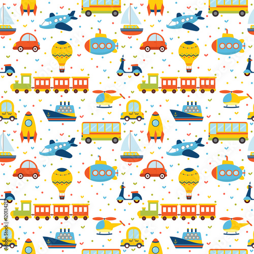Cotton fabric Seamless pattern with colorful cartoon transport. Cute backgroun