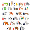Zoo alphabet with cute cartoon animals