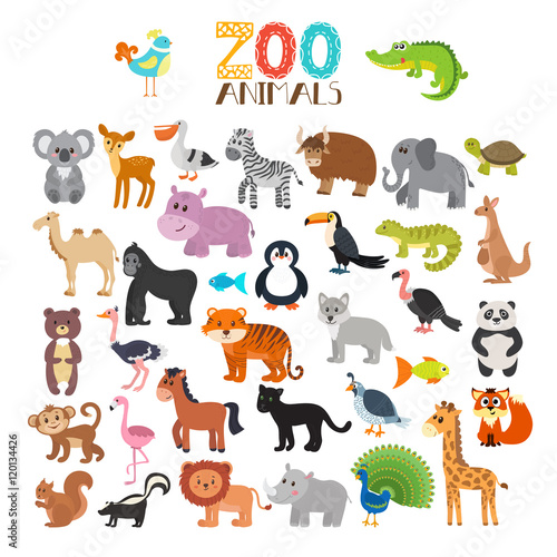 Vector collection of Zoo animals. Set of cute cartoon animals
