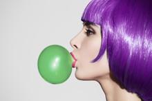 Pop Art Woman Portrait Wearing Purple Wig. Blow A Green Bubble C