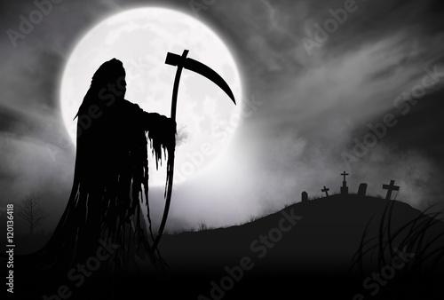 Illustration - Silhouette of a Grim Reaper or fantasy evil spirit in