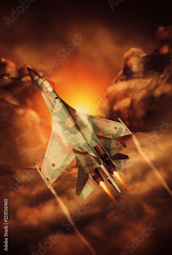 Modern Russian fighter plane SU-27 Illustration