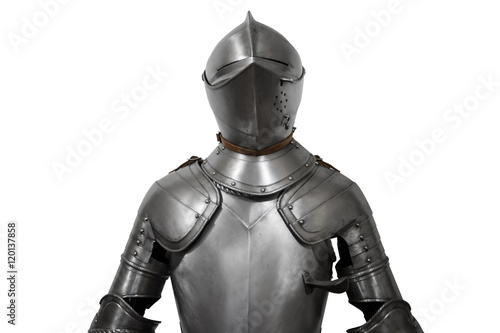 Photo  Old metal knight armour isolated on white background