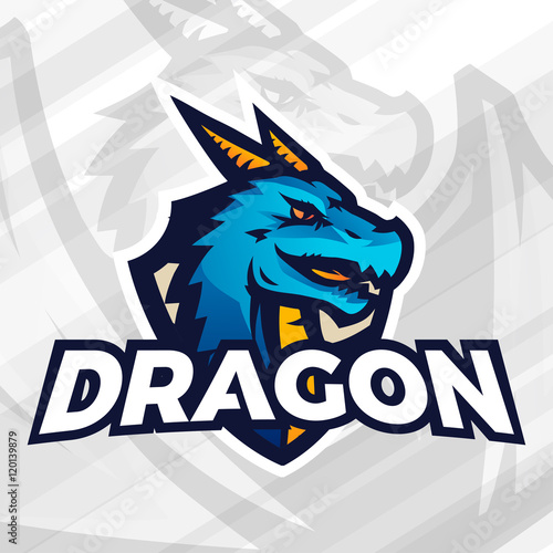 Photo  Dragon on shield sport mascot concept