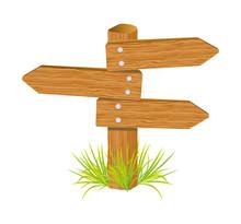 Wooden Arrow Guide Sign Vector Illustration Design