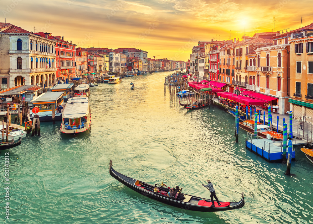 Gondola near Rialto Bridge in Venice, Italy