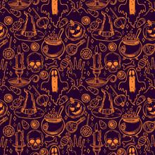 Seamless Sketch Halloween Pattern - 2