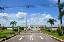 Road And Runway With Mesh Fence Of Trang Airport