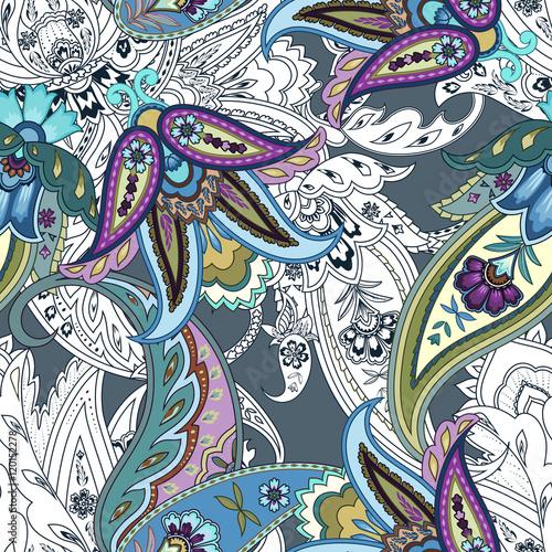Naklejki witrażowe kolorowe-kwiaty-bez-szwu-paisley-wzor-owijanie-wydruku-wzor-w-kwiaty