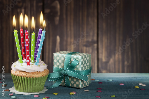 Cupcake with birthday candles Canvas Print