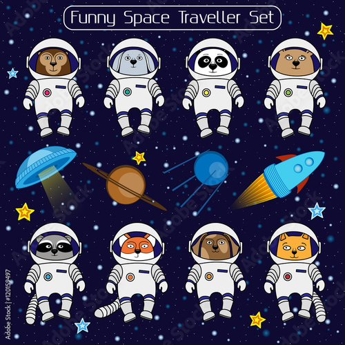 Photo  Set of cute animal astronauts, rocket satellite UFO stars cosmos