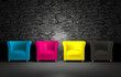 canvas print picture - 3D CMYK chairs and stone wall