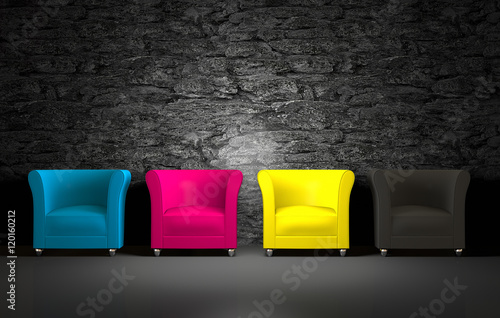Fotografía  3D CMYK chairs and stone wall