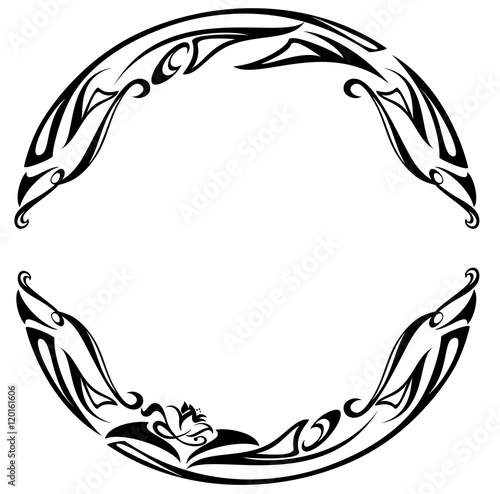 Láminas  art nouveau style round frame - black and white abstract floral design